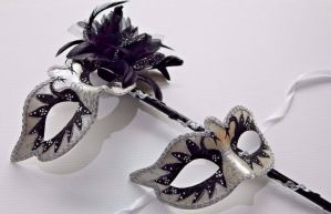 Black and Pearlised White Masquerade Masks - Mask on a Stick | Masks and Tiaras